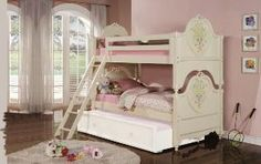 Acme Furniture Industry 02600c_kit Doll House Twin Over Twin Bunk Bed In Cream