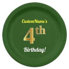 Green Faux Gold 4th Birthday  Custom Name Paper Plate - home gifts ideas decor special unique custom individual customized individualized