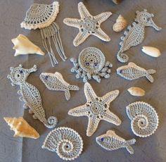 Crochet Seashell Applique, Crochet Pig, Irish Crochet, Crochet Motif, Crochet Animals, Crochet Designs, Crochet Crafts, Crochet Flowers, Crochet Projects