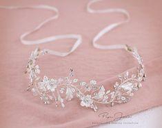 Wedding Ribbon Headband Bridal Headpiece Bridal Hair Comb Silver headband Wedding hair accessories Bridal hair piece Wedding hair piece