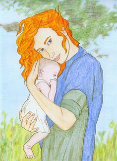 """Brianna Fraser, daughter of Jamie and Claira Fraser, with her newborn son Jemmy; from the book """"Drums Of Autumn"""" by Diana Gabaldon. Brianna Fraser and Jemmy Outlander Spoilers, Outlander Fan Art, Outlander Casting, Claire And Jamie, E Claire, Outlander Book Series, Drums Cartoon, Gretsch Drums, Fantasy"""