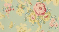 papel pintado arbusto rosas azul verdoso, telas & papel