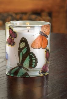 BUTTERFLY FANTASY CANDLE  Butterflies flutter their colorful wings on all sides of a wonderful 7 oz. wild orchid scented decorative candle,