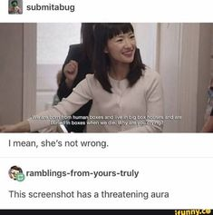 Submitabug threatening aura I mean, she's not wrong. Q ramblings-from-yours-truly This screenshot has a - iFunny :) Stupid Memes, Stupid Funny, Funny Cute, The Funny, Dankest Memes, Funny Memes, Hilarious, Funny Stuff, Funny Things
