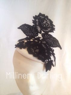 Black & White felt & lace fascinator AW2015-2 For Sale $180 + p&h Go to my Facebook page & Comment 'Sold' against this item. & PM me your email & postal address. #millinery #millinerydarling #racingfashion