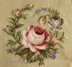 This Pin was discovered by Emi Cross Stitch Pillow, Mini Cross Stitch, Simple Cross Stitch, Cross Stitch Rose, Cross Stitch Flowers, Cross Stitching, Cross Stitch Embroidery, Embroidery Patterns, Hand Embroidery