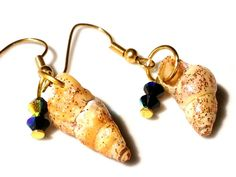 Sea Shell Jewelry, Shell earrings with Black Swarovski Crystals by CaroyLaBrindille
