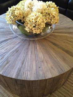 reclaimed wood round coffee table.