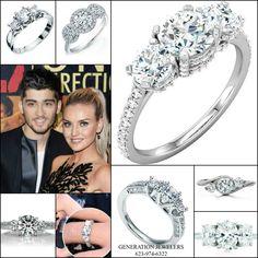 One Direction Zayn Malik & Perrie Edwards diamond engagement ring