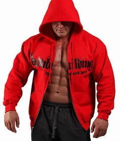 Red #bodybuilding clothing zip #hoodie #workout top g-66, View more on the LINK: http://www.zeppy.io/product/gb/2/330894408482/