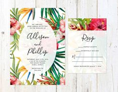 Tropical Flowers Wedding Invitation by AlexaNelsonPrints on Etsy