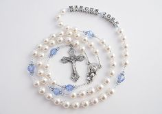 White and Blue Swarovski Pearl and Crystal Baptism Rosary - Perfect for a Baby Boy - Personalized