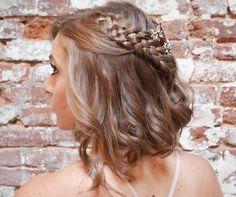 wavy bob with a four-strand braid for prom