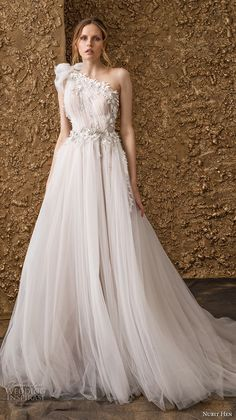 nurit hen 2018 bridal one shoulder ruched bodice tulle skirt romantic soft a line wedding dress chapel train (3) mv -- Nurit Hen 2018 Wedding Dresses #weddings #wedding #wedding