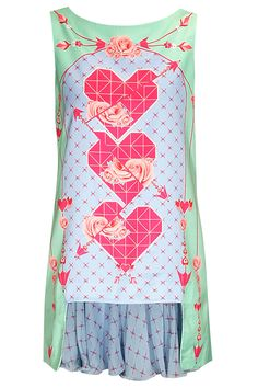 Powder blue rose and hearts printed dress and skirt set available only at Pernia's Pop-Up Shop.