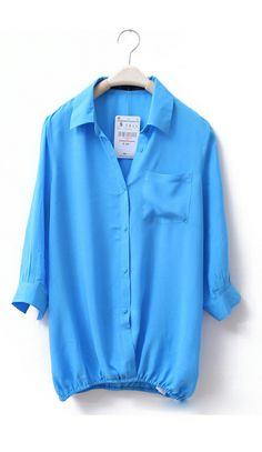 Rolled up sleeves long-sleeved shirt Blue