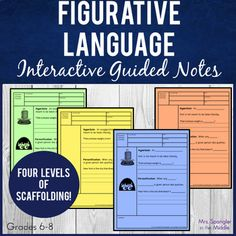 Teach your middle school students critical figurative language vocabulary of simile, metaphor, personification, hyperbole, alliteration, idiom, irony, and onomatopoeia with these interactive guided notes that I call Pixanotes®. Your students will record their knowledge with the notes and then afterward, have them play the included dominoes game to practice their learning!  #teaching #activities Ela Games, Absent Students, Student Picture, 8th Grade Ela, Alliteration, Middle School English, Simile, Figurative Language, Teaching Activities