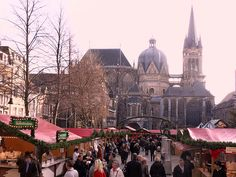 Christmas Market in Aachen, Germany. Historic Cathedral where Charlemagne was crowned. Town known for its incredible gingerbread. Also, wonderful confectionery shops which carry incredible Belgium chocolates.