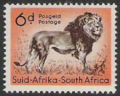 South Africa 1954 Wild Animals SG 158 Lion Fine Used SG 158 Scott 207 Condition Fine Used Only one post charge applied on multipule purchases Details African Animals, African Safari, Wild Animals List, Small Wild Cats, Big Cats, Union Of South Africa, Art Postal, Stamp Printing, Stamp Collecting