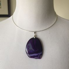 Agate slice choker Purple agate pendant on a silver choker. Pendant can be removed and added to a longer pendant as well. J Jewelista Jewelry Necklaces
