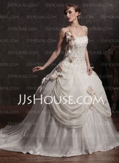 Love it.. if I decide to go this route Wedding Dresses - $236.99 - A-Line/Princess Strapless Chapel Train Chiffon Satin Wedding Dresses With Embroidery Beadwork (002015173) http://jjshouse.com/A-line-Princess-Strapless-Chapel-Train-Chiffon-Satin-Wedding-Dresses-With-Embroidery-Beadwork-002015173-g15173