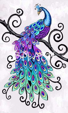 Passaro pinturas en 2019 Peacock art Colorful drawings y Bird art Peacock Drawing, Peacock Wall Art, Peacock Painting, Peacock Tattoo, Fabric Painting, Peacock Fabric, Peacock Colors, Peacock Design, Feather Design