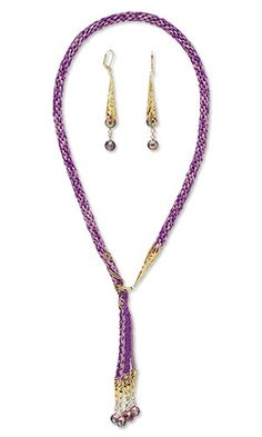 Lariat-Style Necklace and Earring Set with Kumihimo Purely Silk™ Thread, Gold-Plated Aluminum Cones and SWAROVSKI ELEMENTS
