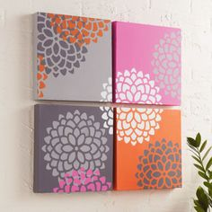 DIY Mum Stenciled Canvas Set