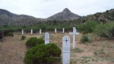 Wooden headstones at Fort Bowie cemetery Fort Bowie National Historic Site Arizona
