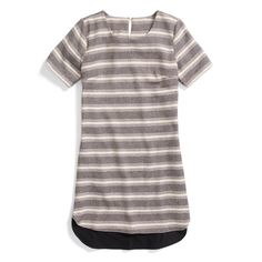 The New Stripe: A T-shirt dress is versatile and timeless. Wear it with sandals or wedges as spring approaches.