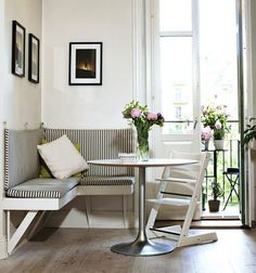 Breakfast nooks can be space savers. If you have an unused corner in the kitchen, then you may have just enough space for a small bench and cafe table.