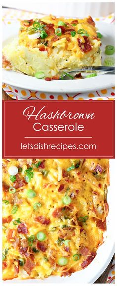 Cheesy Bacon Egg Hashbrown Casserole Recipe -- This tasty breakfast bake is loaded with crispy bacon, cheddar cheese, and of course, lots of shredded hashbrowns. # breakfast casserole with hashbrowns Cheesy Bacon Egg Hashbrown Casserole Bacon Egg Hashbrown Casserole, Shredded Hashbrown Recipes, Hash Brown Egg Casserole, Potatoe Casserole Recipes, Breakfast Casserole Easy, Breakfast Dishes, Breakfast Bake, Egg Bake With Hashbrowns, Sausage Breakfast
