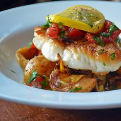 AMZing Eats: Red Snapper with Baby Potatoes, Wild Mushroom and Artichoke Ragout with Vierge Sauce Sauce Recipes, Fish Recipes, Seafood Recipes, Gourmet Recipes, Cooking Recipes, Healthy Recipes, Gourmet Foods, Fish Dishes, Seafood Dishes