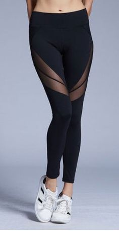 sheer panel black leggings