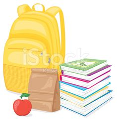 Back To School Backpack, Books and Lunch royalty-free stock vector art