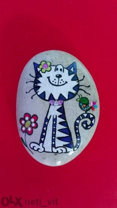 Cute cat painted rock