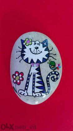Cute cat painted rock