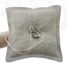Linen Ring Bearer Pillow Rocks