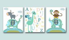 "Baby Boy Nursery Art Childrens Art Kids Wall Art Baby Boy Room Decor set of 3 8""x10"" nursery alphabet nursery elephant monkey blue giraffe. $42.00, via Etsy."