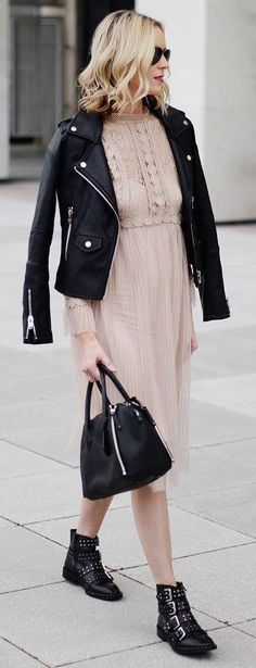what to wear with a biker jacket : blush dress + bag + boots