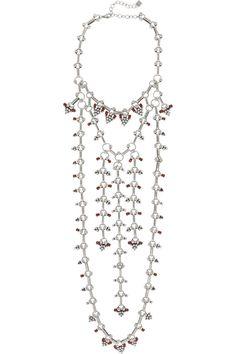 DANNIJO   Philo oxidized silver-plated Swarovski crystal necklace   NET-A-PORTER.COM