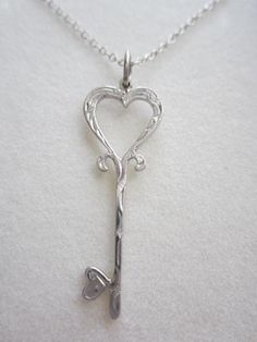 Silver Key Necklace Silver Key engraving pendant by MILAVIKIDS, $20.00