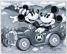 Mickey Mouse - Scenic Drive - Minnie by Tim Rogerson presented by World Wide Art Disney Mickey Mouse, Mickey Mouse Y Amigos, Walt Disney, Mickey Love, Mickey Mouse And Friends, Cute Disney, Minnie Mouse, Disney Images, Disney Pictures