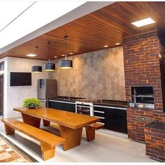 120 unordinary kitchen colors design ideas that looks cool 12 Outdoor Kitchen Design, Patio Design, Kitchen Decor, Decor Interior Design, Interior Design Living Room, Interior Decorating, Barbecue Area, Bbq Grill, Cuisines Design