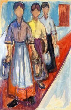 Edvard Munch, Señoras de la limpieza en el Hotel Mutiger Ritter en Kösen, 1906. Gouache y lápiz de color sobre papel, 71.5 x 47.5 cm, Museo Munch, Oslo