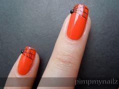 halloween spider web nail art // Oh genius! Nails Polish, Nail Polish Designs, Nail Art Designs, Fingernail Designs, Get Nails, Love Nails, Hair And Nails, Halloween Nail Designs, Halloween Nail Art