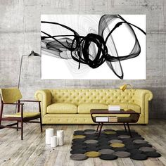 That Energy Black and White Contemporary Abstract Canvas Art