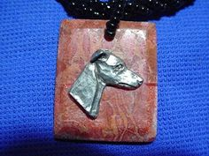 Whippet Greyhound choker necklace pewter on stone Beaded by Cindy A. Conter Nb