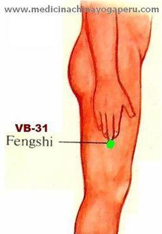 Este punto pertenece al meridiano de Vesícula biliar,Su nombre es FENGSHI y trata problemas de Frío y Viento en el cuerpo. Estando de pie con los brazos colgando, el extremo del dedo medio señala el punto.Cuando se sientan decaídos con escalofríos, masajee este punto con los dedos anular, medio e índice en las dos piernas con mediana presión, rápidamente dispersa el viento y se sentirán mejor. También se utiliza para calmar los mareos, nivelar la presión arterial y la migrañas.