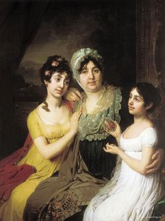 Giclee Print: Portrait of Countess Anna Bezborodko with Her Daughters Lyubov and Cleopatra, 1803 by Vladimir Lukich Borovikovsky : Russian Painting, Russian Art, Jane Austen, Empire, 1800s Fashion, Oil Painting Reproductions, Historical Costume, Cleopatra, Mother And Child